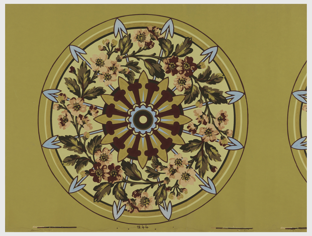Wallpaper roll.  Round ceiling medallion; vining floral and foliage over circular center with arrows. Printed on ocher ground.
