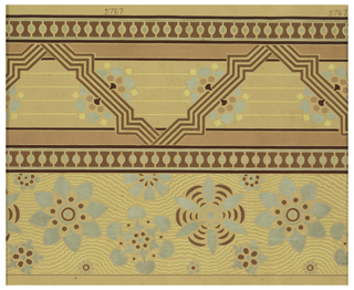 Wallpaper roll. Borders or sidewall: two different designs each occupying half the paper width. Stylized blue flowers on wavy background; and zig-zag motif with blue flowers. Printed in blue and metallic copper.