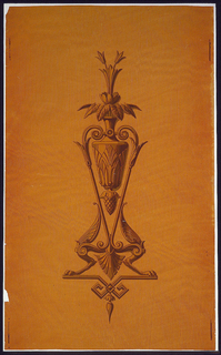 On a tan, wood-grained glossy ground is printed a single large design of an urn supported by scrolled arms with griffin feet and containing stylized lily-like flowers and leaves. Printed in tan and yellow.