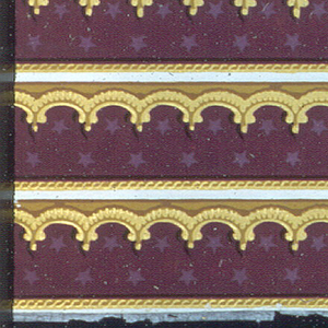 Gilt arcade pattern over purple flocking, with lighter violet stars on it; edged with a rope pattern.