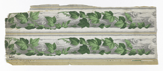Two strips of border printed side by side on one length of paper. On white ground, green ivy entwined around continuous gray log.