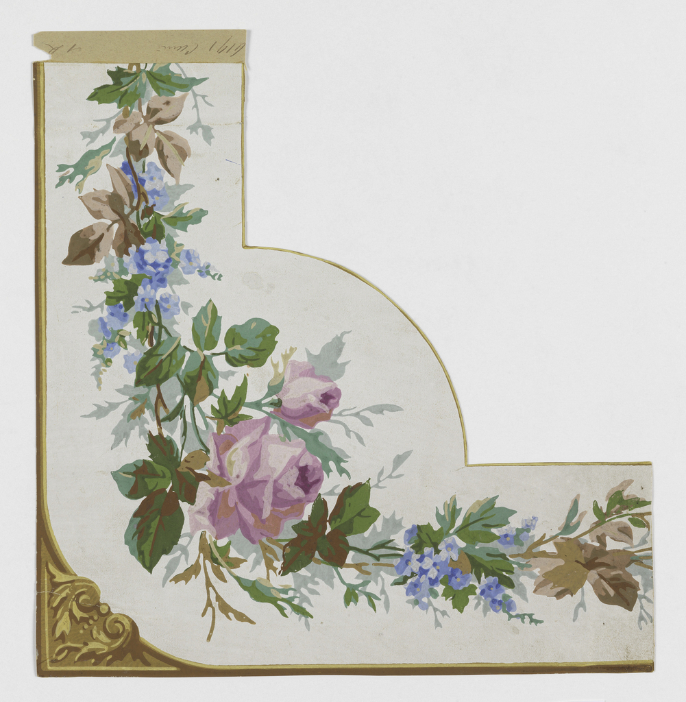 Border corner: architectonic scrolling and edge lines in gold and brown. Printed on white ground, continuously entwined leaves, purplish-pink roses, blue flowers, brown and green leaves.