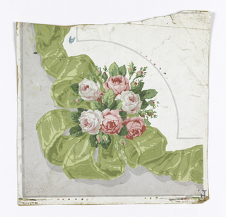Border corner: areas of gray and white grounds divided by bouquet of pink roses, green ribbon and loops.