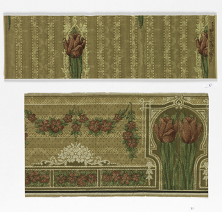 Stylized red tulip on green stem, surrounded by light yellow lacy motif, printed on background of mottled stripe.