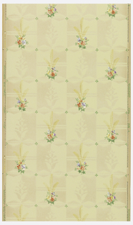 Small floral bouquet printed in color on a beige ground.