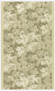 All-over dense pattern of foliage, printed in shades of tan or gray. The background color appears to be a liquid mica, which becomes highlights in the leaves.