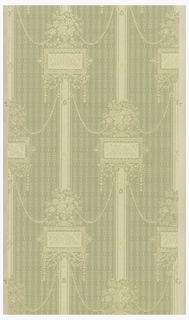 Medallion stripe design. Medallions in drop-match pattern connected by swags. Printed in white and tan on green striped background.