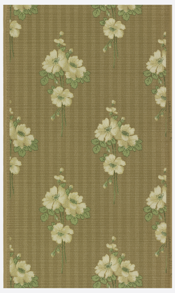 Repeating design of floral bouquets, with white flowers and metallic green leaves. Printed on patterned background.