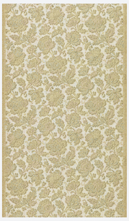 All-over vining floral pattern.  The background is printed white with the floral motif being the ungrounded paper showing through.