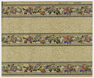 Three floral bands, with wide bands of mottled background in between. Printed on ungrounded paper.