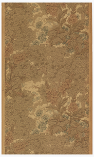 Tapestry paper, large leaves and flowers. Printed in browns, tan, mauve and blue.