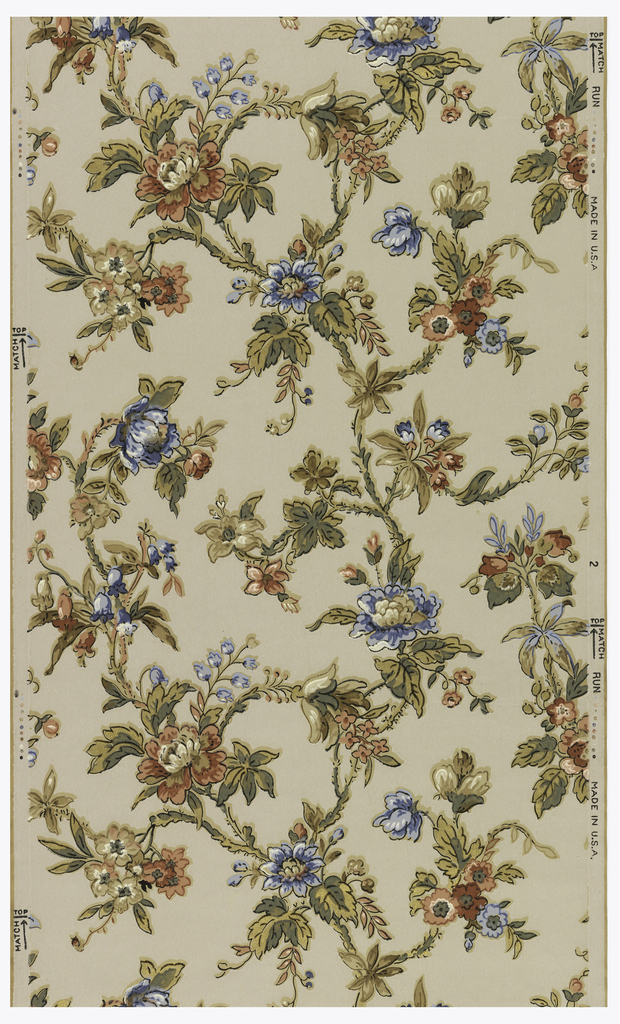 Vining floral design. Red and blue flowers with gold highlights. Printed on white ground.