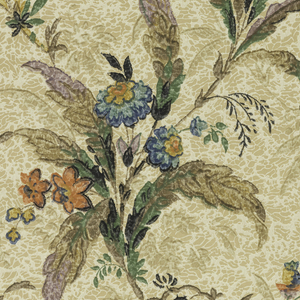 Vining floral sprigs, printed in metallic colors. Printed on mottled background.