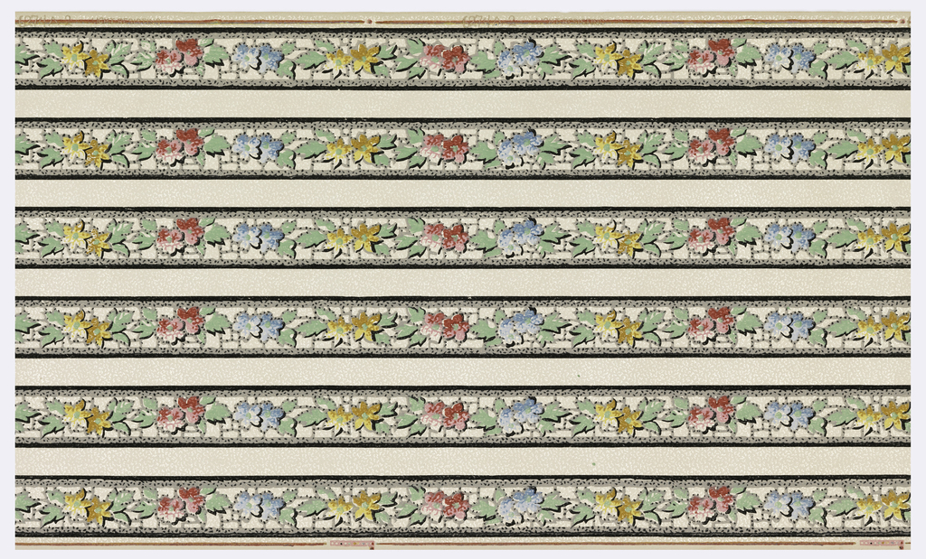 Narrow floral borders. Printed in red, green, blue, ocher and black on white ground. Printed six across.