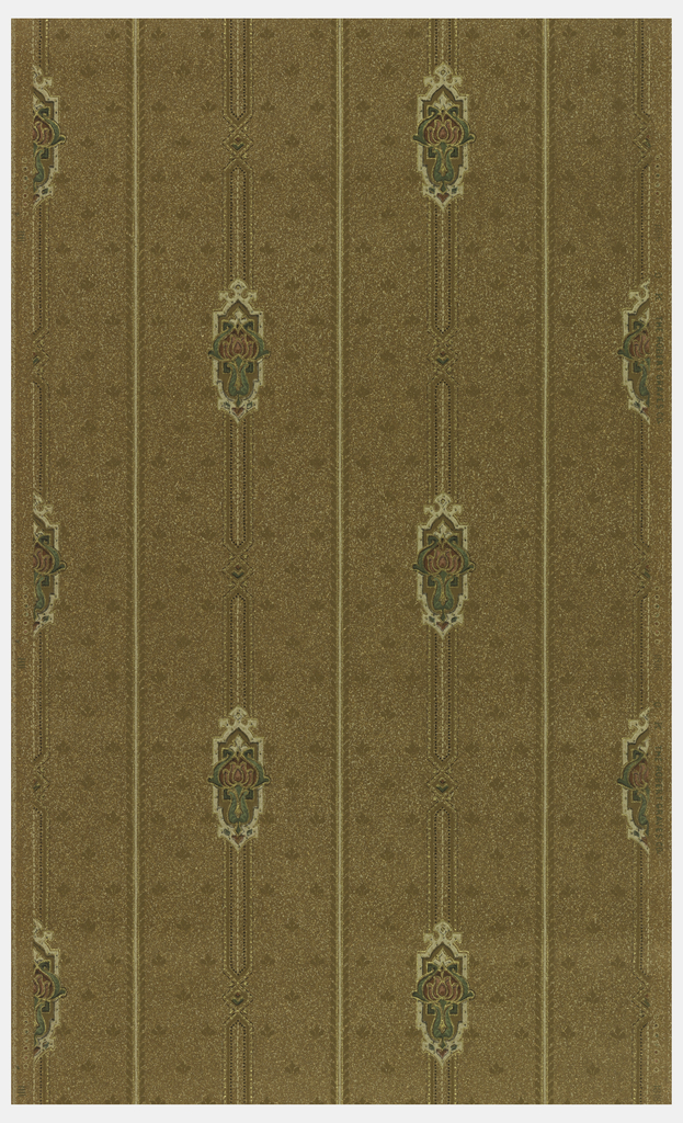 Medallion stripe design. A medallion containing a stylized floral motif on a broken stripe, alternates with an unbroken stripe. There is a small, all-over diagonal motif in the background. Printed on brown oatmeal paper.