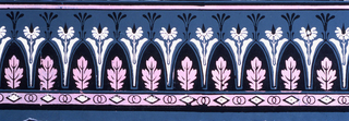 Black arcade with pink oak leaves in center. Between arches is a stylized black and white floral pattern that rises above it. Lower border of black and white diamonds and two black-lined circles on pink ground.