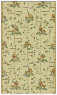 Alternating floral motifs, printed on background of irregular white tile motifs. Printed on ungrounded paper.