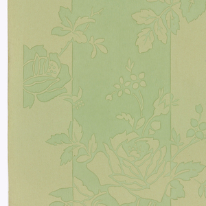 Vining rose design, printed in two shades of green. Printed on a light green ground, two darker green stripes highlight roses in the ground color. Flowers on the ground color are printed in the darker green.