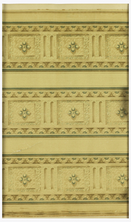 Sanitary paper. Very classically styled architectural border. Quatrefoil on a boss, centered between two fluted bosses. A band of floral motifs along either edge. Printed in tans and green on off-white ground. Printed three across. Varnished.
