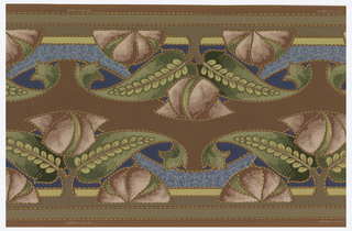 Cut-out border, printed two across. Stylized floral and foliate design. Mauve flower with green leaves, with motifs connected by blue swag. Printed on brown ground.