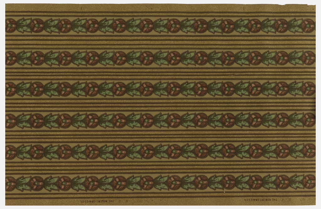 Floral stripe. A circular red flower alternates with a green leaf. Each motif is outlined in brown and a brown stripe runs along either edge. There is also a double stripe in between the floral stripes. Printed on brown oatmeal paper.