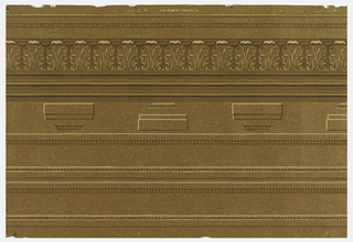 Architectural elements to be cut out and applied. The set contains a top cornice molding with beading and acanthus leaves, pilaster capitals and bases, and pilaster shafts. Printed in brown and beige on brown oatmeal paper.