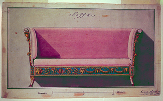 Design for a sofa with high, upholstered sides, seen frontally.  The frame is adorned with arabesques or garlands with oxen skulls, in alternate suggestion.