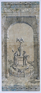 """Pillar and arch design featuring monument to George Washington. Rounded arch flanked by Corinthian columns supporting ornate architrave. In opening, a fenced-in altar with inscription """"Sacred to Washington"""", surmounted by urn and eagle, and flanked by mourning figures of Liberty and Justice. In front, trophies of war including arms, drum and flags. Printed in grisaille on originally blue, now gray ground."""
