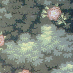 In the style of a tapestry, single red flowers appear on top of dense foliage pattern.
