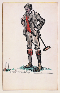 Young man in knickerbockers standing, hands on hips, before a croquet wicket, and holding the mallet in his left hand.