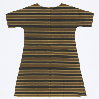 Short-sleeved dress with back and front of similar shape, seamed at top and sides. Tan fibrous paper printed with horizontal black and brown stripes.