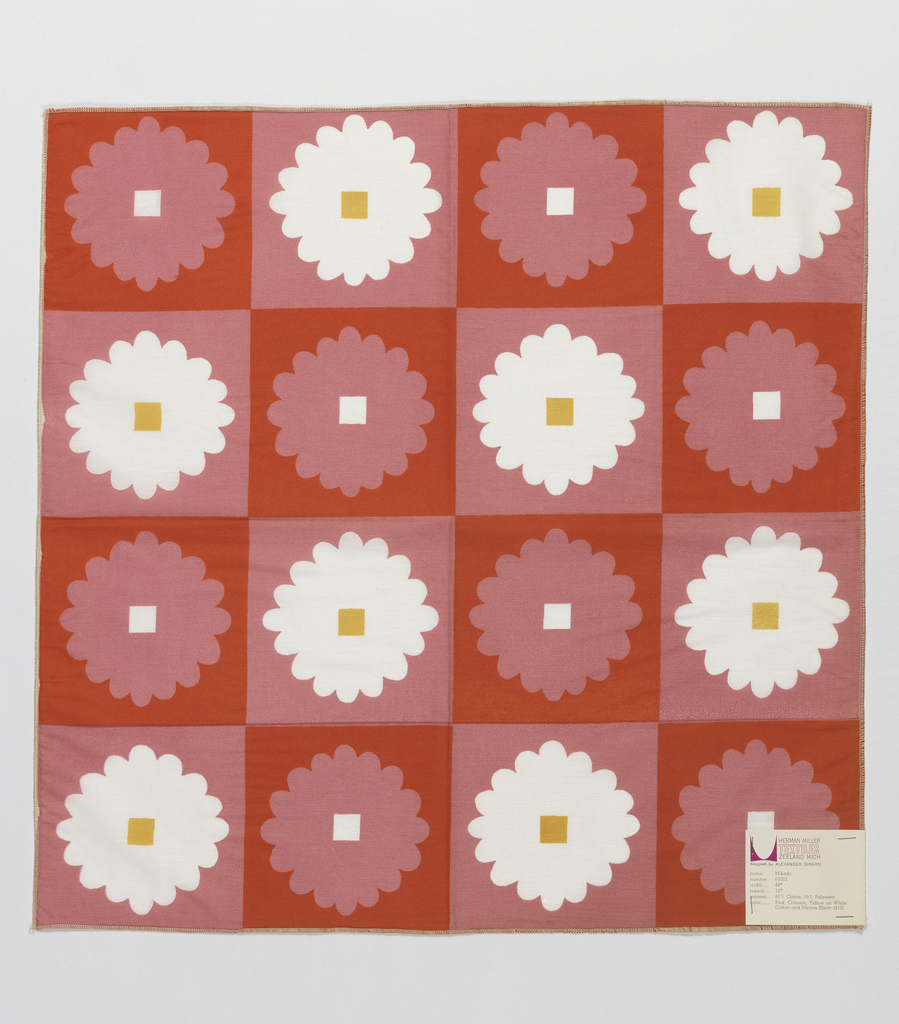 Columns and rows of stylized flowers with square center. Printed in pink, red and gold color on white.