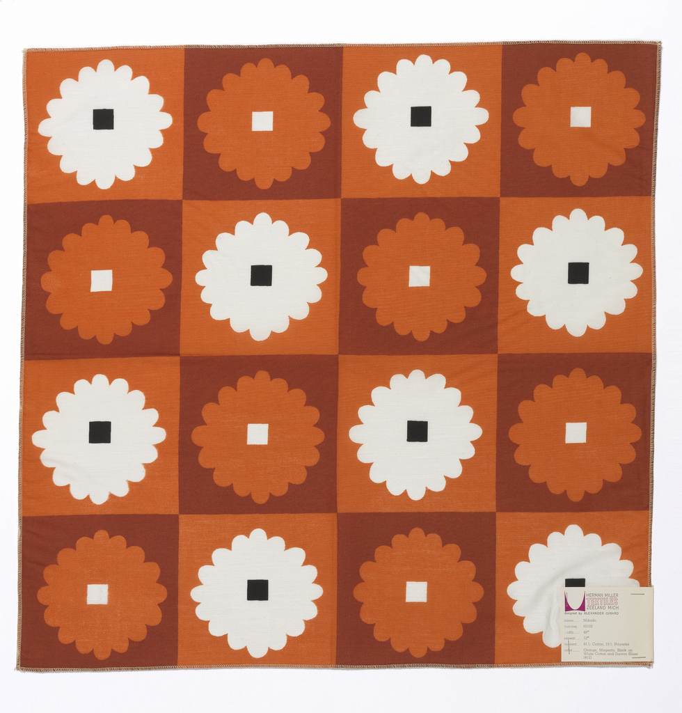 Columns and rows of stylized flowers with square center. Printed in dark red, orange and black on white.