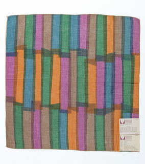 Overlapping vertical rectangles printed in purple, green, blue, brown and orange on white.