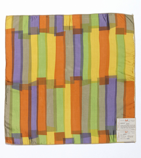 Overlapping vertical rectangles printed in purple, yellow, green, orange and grey on white.