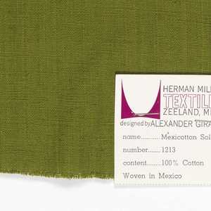 Plain-woven cotton in olive green. Slight variations in the color of the warp threads give a subtle stripe effect.
