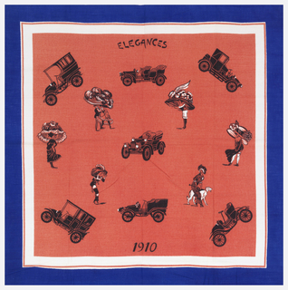 Square handkerchief with early 20th century automobiles and women in enormous hats printed on a red ground, with white and blue borders.