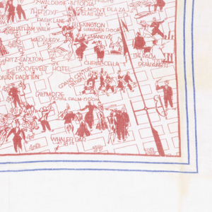 Central square with map of New York with nightclubs listed in bold type and with cartoon-like figures. Outer border a list of 'insider' contacts.