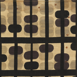 A grid of heavy black horizontal lines and narrower black vertical lines with black and dark purple ovals silhouetted over the same ovoid shapes in pale grey and beige.
