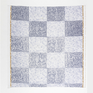 Large-scale checkerboard of light and dark blue squares, the squares made up of small irregular dots of mottled color.  A single row of light brown dots runs parallel to the selvage on each side.