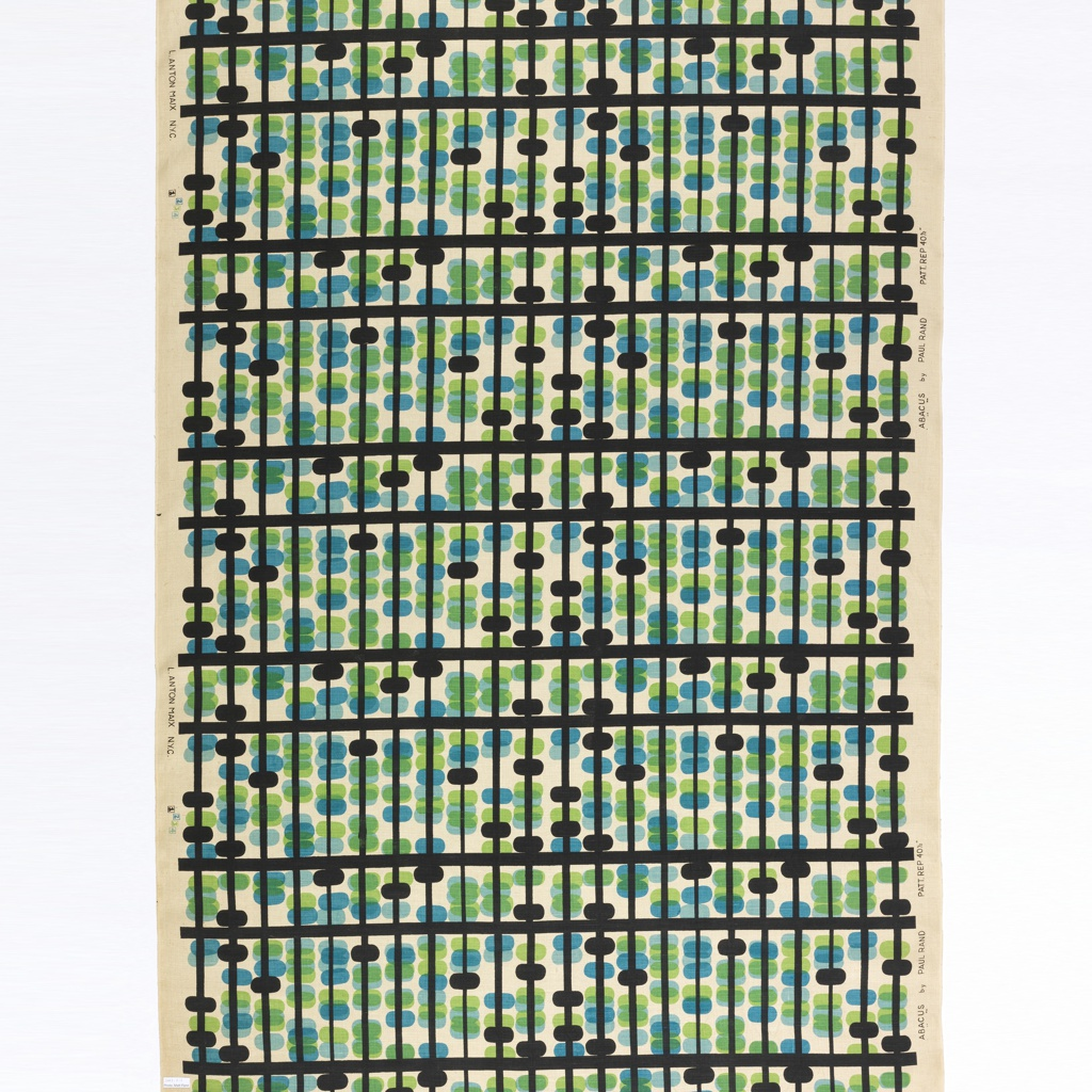 Length of printed linen with heavy horizontal stripes and narrower vertical stripes in black, with irregularly spaced ovals, as the beads of an abacus, in black, blue and green on a natural linen ground.