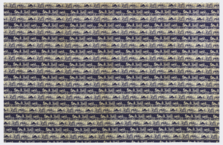 Dress-weight plain weave cotton fabric printed in blue on a white ground. The overall pattern layout is an even horizontal stripe. In each band a suburban street is depicted, with houses in three different styles of architecture, one very modern. The pattern appears in positive (blue on white) and negative (white on blue) to form the stripe effect.