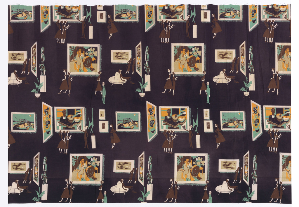 "Dress-weight plain weave cotton, printed in four colors: brown, dark purple, light green, and dark yellow. The dark purple is used as the background of the pattern, while the white or unprinted areas are part of the image. The pattern depicts fashionable ladies of the 1950s visiting an art museum, possibly the Museum of Modern Art in New York. One cluster of ladies is being lectured by a male professor with a pointer. Another is seated on a round banquette. There is also a male museum guard in uniform, and some potted plants. One painting, ""The Sleeping Gypsy"" by Henri Rousseau, is specific and recognizable, others are less specific: a vase with sunflowers by Vincent van Gogh, a harlequin by Pablo Picasso, a portrait by Henri Matisse, a sculpture by Alexander Calder, a small canvas by Piet Mondrian."