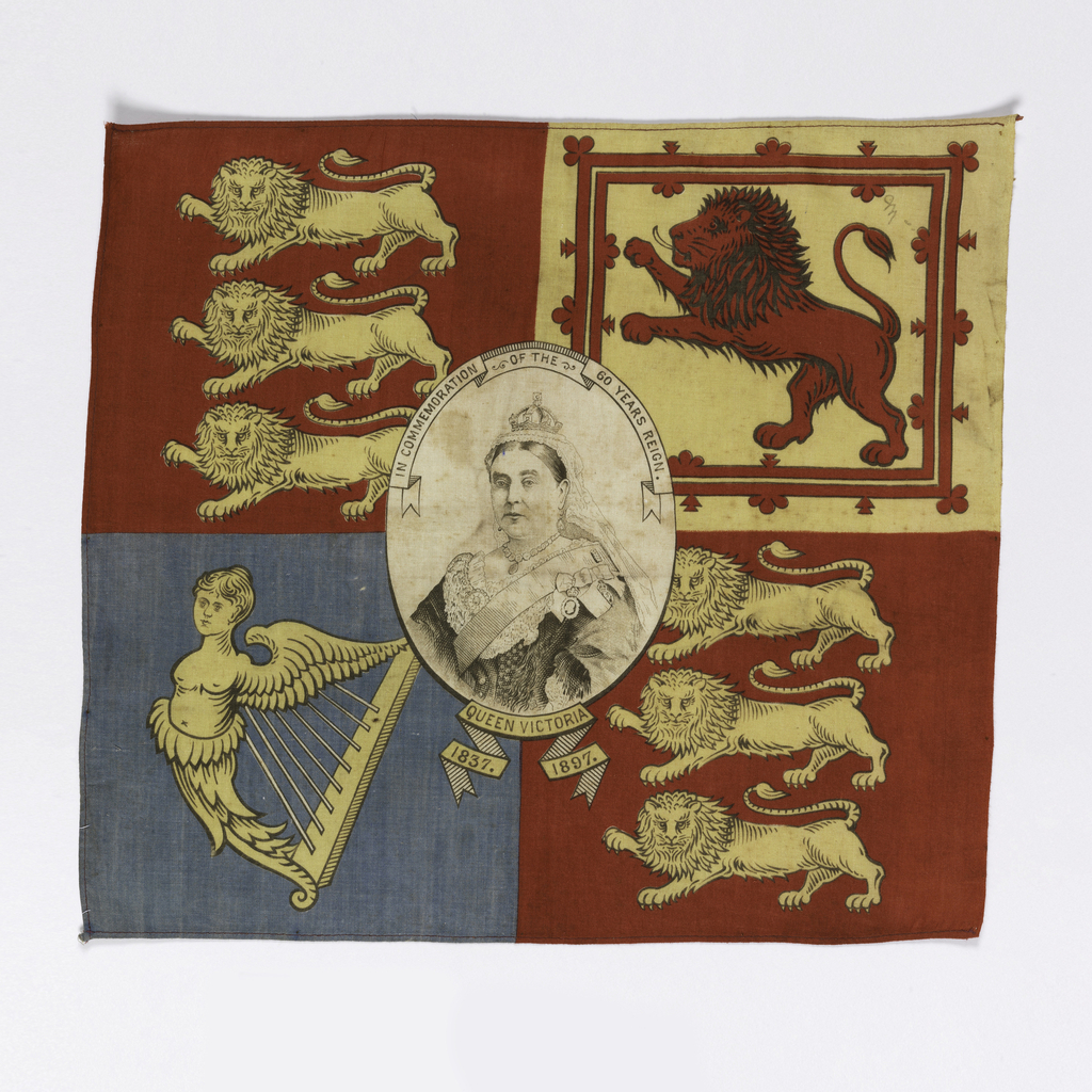 "Printed cotton handkerchief divided into four quarters and showing the symbols of the coat of arms. A center oval medallion contains a portrait of Queen Victoria. In a banner above the portrait: ""In Commemoration of the 60 Years Reign,"" and below the medallion: ""1837 Queen Victoria 1897."" Printed in black, blue, red, and yellow on white."