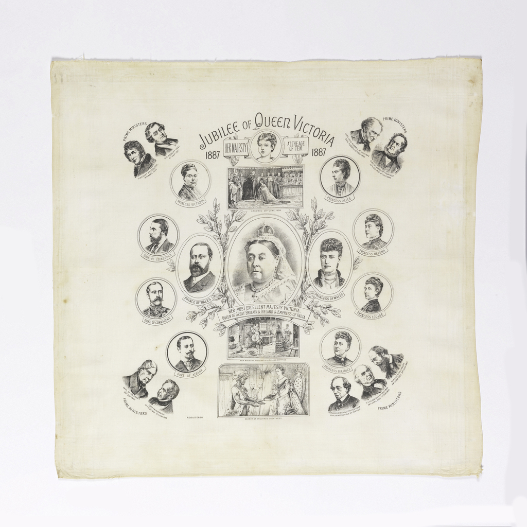 "At the top: ""Jubilee of Queen Victoria 1887."" In the center, a three-quarter portrait medallion of Queen Victoria, with a banner below reading ""Her Most Excellent Victoria, Queen of Great Britain & Ireland & Empress of India. Center medallion is surrounded by portrait medallions of the royal family, with the Prime Ministers in the four corners. Printed in black on white."