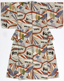 Woman's lined silk kimono with an overall design of a suburban landscape of curving tree-lined streets in black, light gray, orange, pink and white. The kimono is traditional constructed with a continuous length of fabric from the front hem over the shoulder to the back hem, therefore the design appears upside-down on the back.