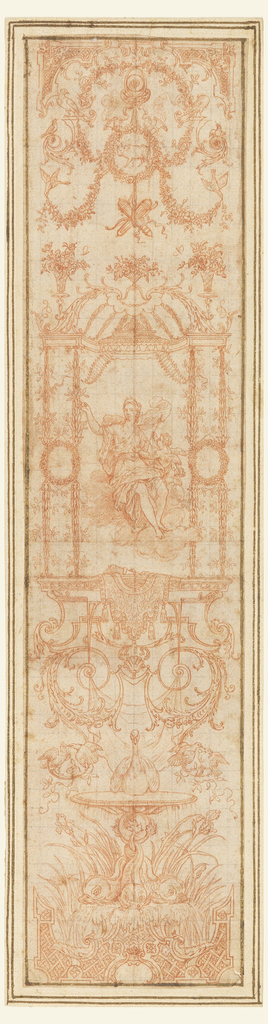 "Three vertical panels depicting the months of April, June and October, in reverse from the engraved designs for tapestries.""April"" shows the bull in a wreath medallion at top, with Venus and Cupid in a frame at the center of the drawing. Below the frame is a swan between billing pairs of doves, all resting on a pedestal supported by dolphins. In ""June"", Cancer is omitted. Mercury is placed in the central framing structure surmounted by a cock.  A ram is below. ""October"" shows Scorpio in a wreath at top, Minerva in the central frame, and Arachne(?) making a tapestry below."