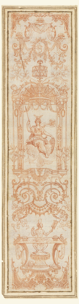 """Three vertical panels depicting the months of April, June and October, in reverse from the engraved designs for tapestries. """"April"""" shows the bull in a wreath medallion at top, with Venus and Cupid in a frame at the center of the drawing. Below the frame is a swan between billing pairs of doves, all resting on a pedestal supported by dolphins. In """"June"""", Cancer is omitted. Mercury is placed in the central framing structure surmounted by a cock.  A ram is below. """"October"""" shows Scorpio in a wreath at top, Minerva in the central frame, and Arachne(?) making a tapestry below."""