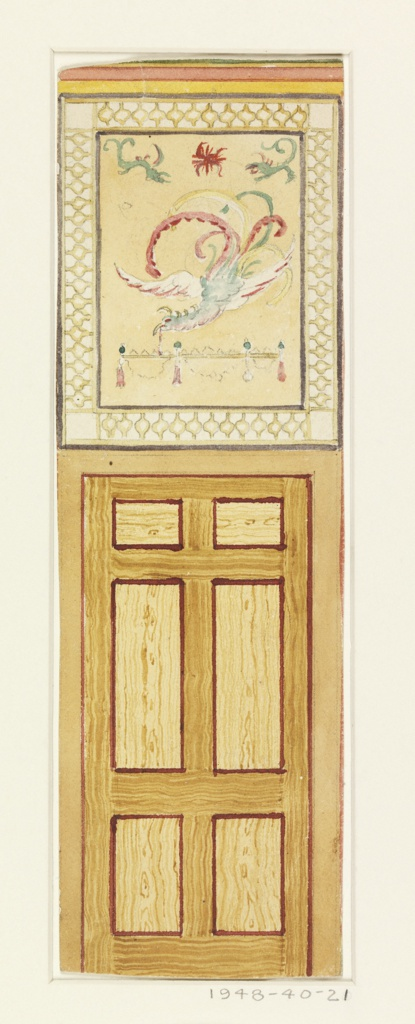 Drawing, Design for Door and Overdoor with Fantastic Bird, probably for the Yellow Room, Royal Pavilion, Brighton