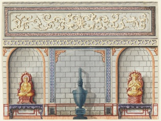 Horizontal rectangle.  Elevation of a wall, with a painted design in imitation of stone-work.  Niches to left and right contain console tables bearing seated figures of deities.  Before the central section is placed a tall urn-shaped stove.  The upper section of the wall contains a painted decoration within a marbleized border.  Original album associated with this collection still exists.  See 1948-40-1 accessory